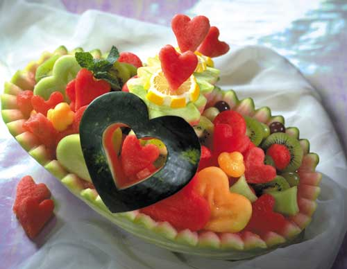 تزیین هندوانه شب یلدا شکل سبد